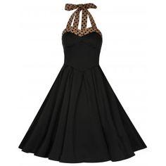 Carola Black Halter Neck Dress | Vintage Inspired Fashion - Lindy Bop