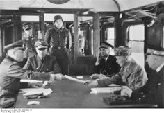 """Signing of the Franco-German Armistice at Compiègne  After the Germans won """"Blitzkrieg"""" victories over the Netherlands, Belgium, and Luxembourg, forcing those countries to capitulate, the battle for France began on June 5, 1940. By June 17, France was already in a hopeless military position, and Marshal Philippe Pétain (who had been named head of state after the resignation of Minister President Paul Reynaud) began peace negotiations."""
