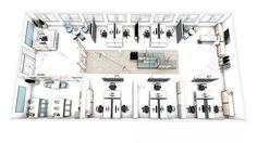Grundriss Büro - Open Space Büro mit Empfang, Arbeitsbreichen, Sofa, Meetingzone und Pausenraum