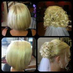 Short hair updo, wedding, bride, vail, updos. Did this UPDO on a bride who has an inverted Bob, no extensions or hair pieces. All her hair!!!