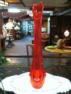 Vintage Amberina Viking Vase