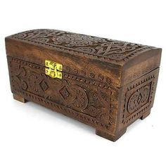 Handcrafted Carved Mango Wood Chest with Latch Handmade and Fair Trade