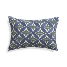 Russian designs and vintage Parisian floor tile patterns combine beautifully in Suki Cheema's abstract floral design rendered in soft blues and contrasting embroidery stitches.  Pillow reverses to solid light blue.