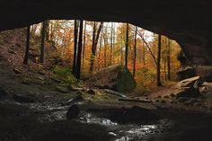 View from the back of Kinlock Rock Shelter on a beautiful fall day. One of the premier petroglyph sites of prehistoric Native American occupation. The scared Native American site is still used for ceremonies