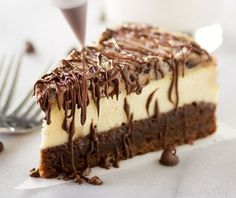 This impressive, yet super easy, brownie bottom cookie dough cheesecake looks as fancy as any dessert you've had from a restaurant!