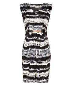 Look at this Black & White Abstract Stripe Dress on #zulily today!