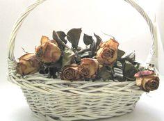 Older Shabby Chic, White Wicker Basket, Twisted Handle, Oblong, Flower Girl, Wedding Decor, French Farmhouse, Picnic Decor,Fruit Gathering by SharetheLoveVintage on Etsy