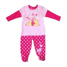 Licensed Disney Pooh & Piglet pyjama set with feet & glitter print.  Sizes 0 & 1.