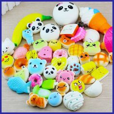 30 Pcs Random Squishy Slow Rising Bread Cake Bun Pendant Donut Charm Toy Stretchy Squeeze Cream Scented Cute Strap