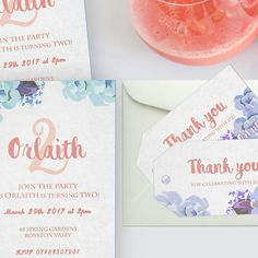 Floral themed, pastel colored party invitation set 🌌🌹