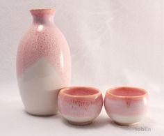 sakura sake set | Photo1: Mino yaki ware Japanese Sake bottle and Sake cup set sakura ...