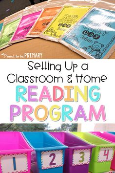 Setting Up A Stellar Classroom and Home Reading Program Classroom organization tips and ideas for teachers setting up a classroom and home . Kindergarten Classroom Organization, Primary Classroom, Classroom Ideas, Book Bags Classroom, Classroom Management, Classroom Libraries, Teacher Organization, Behavior Management, Future Classroom