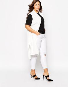 6e21b95035d6c Pink Clove Sleeveless Longline Waistcoat (Plus Size) Long A Line