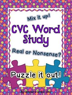 #Puzzle #CVC #Word Study Learning #Center