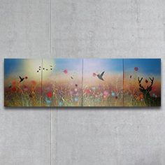 Four individual pieces 50cm x 40cm acrylic spray paint on canvas making up one total piece 160cm x 50cm  http://www.danes-art.com/summer_seen.html