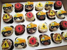 Dump Truck Birthday Cupcakes---these would be awesome for Jackson's birthday
