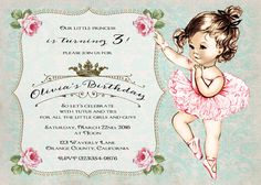 Vintage Ballerina Tutu Girl Birthday Invitation By CupidDesigns - Vintage girl birthday invitation