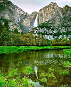 The Yosemite Falls, located in Yosemite National Park in the Sierra Nevada mountains of California #travel #california #usa