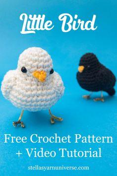 Little Bird – Free Crochet Pattern – Stella's Yarn Universe – Amigurumi Crochet Bird Patterns, Crochet Birds, Crochet Patterns Amigurumi, Crochet Animals, Crochet Toys, Crocheted Flowers, Knitted Dolls, Flower Patterns, Crochet Ideas