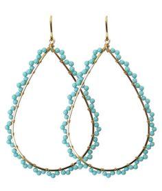 viv&ingrid scalloped teardrop hoop in sleeping beauty turquoise vivandingrid.com #turquoise #hoops