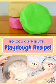 No-Cook 3 Minute Playdough Recipe! This is the easiest no-cook playdough recipe you will ever find and it works every time. If it is sticky, add a little more flour, if it is too dry, add a splash more boiling water. You cannot mess this recipe up! It takes 3 minutes to make and lasts for 6 months in an airtight baggie Best Playdough Recipe, Cooked Playdough, Activities For 2 Year Olds, Kids Learning Activities, Diy Projects For Kids, Arts And Crafts Projects, Healthy Fruits, Healthy Kids, Toddler Meals