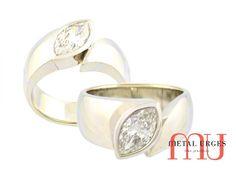 18ct white gold, bezel set marquise white diamond engagement ring. Custom made in Hobart.)
