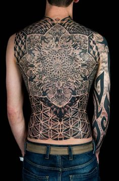 Full back piece by Dotwork Damian #InkedMagazine #back #tattoo #tattoos #Inked #Ink #art