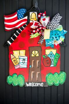 A red school house with a pencil, crayon, apple and ruler are ready to learn this school year. This back to school door hanger is a great teacher's gift! Teacher Door Hangers, Teacher Doors, Custom Door Hangers, Burlap Door Hangers, Bell Paper, School Door Decorations, School Doors, School Signs, Great Teacher Gifts