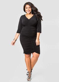 67c4342ea86 Ruched Front Hi-Lo Dress-Plus Size Dresses-Ashley Stewart