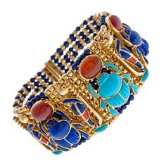 Yellow Gold, Turquoise and Lapis Beaded Scarab Bracelet | 1stdibs.com