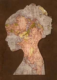 Cool DIY decor idea--combine map trend with silhouette DIY wall art idea. Freshens both--and could choose many types of silhouettes
