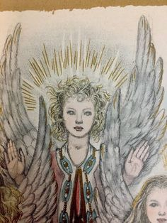 "Three Angels Gold Gilded Paper Ephemera Book Page 9 1/4"" x 12"" Winged Christmas"