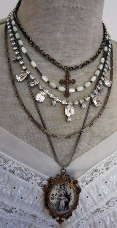 1000+ images about Assemblage Jewelry Necklace on Pinterest | Assemblages, Rosary necklace and Rosaries