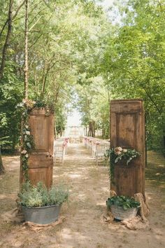 woodland rustic outdoor wedding entrance