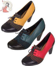 BANNED NITA 40s Vintage Style CHAUSSURES À LACETS talons ROUGE, BLEU & JAUNE in Vêtements, accessoires, Femmes: chaussures, Escarpins   eBay