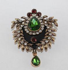 Turkish Jeweled Brooch 22315 Green