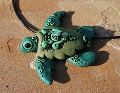Polymer Clay Green Turtle Necklace by handmademom on Etsy