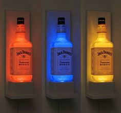 Jack Daniels Honey Wall Mount Color Changing LED Remote Controlled Eco Friendly rgb LED Bottle Lamp/Bar Light - Sconce -Bodacious Bottles- I would probably not use Jack Daniels bottles, but it's a cute idea :) Sconce Lighting, Bar Lighting, Event Lighting, Man Cave Lighting, Garage Lighting, Wedding Lighting, Lighting Ideas, Track Lighting, Liquor Bottles