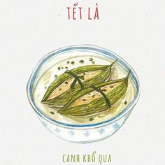 Tết Là Canh khổ qua    #Illustration Food Doodles, Chibi Food, Food Sketch, Watercolor Food, Food Painting, Food Backgrounds, Food Drawing, Nouvel An, Vietnamese Recipes