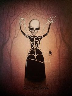 Gothic Dark Art Print Skeleton Web Weaving by by MyEclecticMind1, $14.00