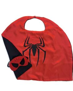 Superhero Child Cape and Mask Satin Lined Cape Red with Black Spider   Ensignia
