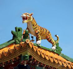 chinese temple art | Tiger Sculpture Decorates Chinese Temple Roof Photograph