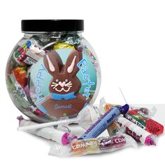 Easter Gift Ideas - Personalised Chocolate Bunny Sweet Jar Blue - Easter Gift for boys - £6.99