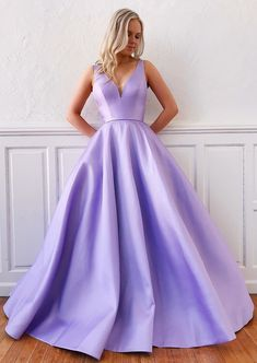 Simple v neck purple satin long prom dress purple long formal dress NN – shinydress Lavender Prom Dresses, Beautiful Prom Dresses, Pretty Dresses, Purple Formal Dresses, Long Lavender Dress, Semi Formal Dresses Long, Violet Dresses, Amazing Dresses, Dress Long