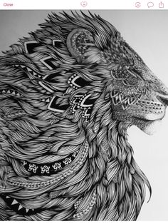 Patterned Lion tattoo