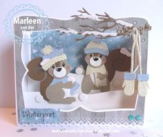 Toen ik de creatables 'Knitted scarf' en 'Knitted hat and mittens' zag moest ik gelijk denken aan de nieuwe eekhoorntjes... want hoe leuk...