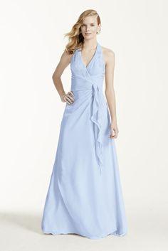 Bridesmaid Dress Extra Length Crinkle Chiffon Halter Draped Cascade