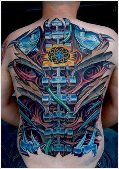 Cool Bio-mechanical Tattoo designs : Full Biomechanical Tattoo Design For Men On Back