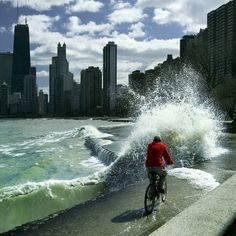 chicago lake michigan - I remember similar rides to work from Irving Park Road to downtown.