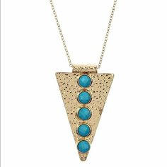 Long Pendant Gold Toned Turquoise Necklace Very unique pendant necklace made in Turkey. New with tag on the package Chiccy Accessories Jewelry Necklaces